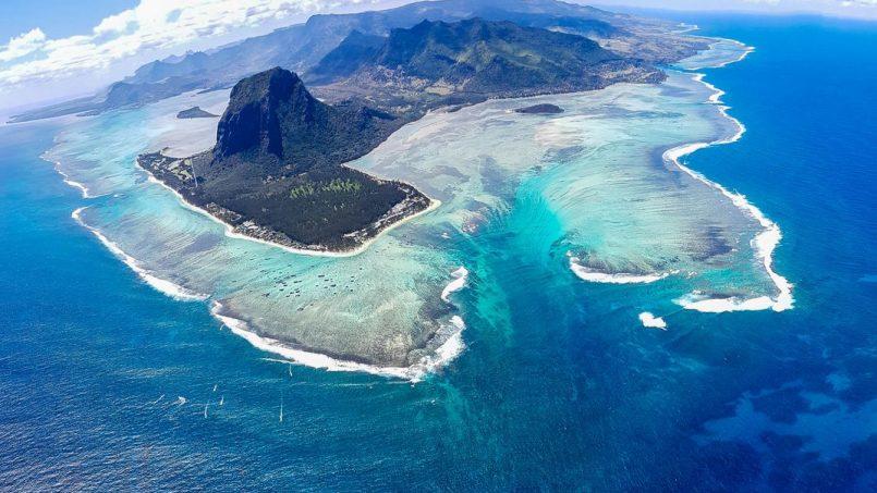 Unterwasserwasserfälle in Mauritius